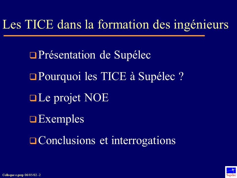 Colloque e-prep 06/05/02 - 2 Les TICE dans la formation des ingénieurs Présentation de Supélec Pourquoi les TICE à Supélec ? Le projet NOE Exemples Co