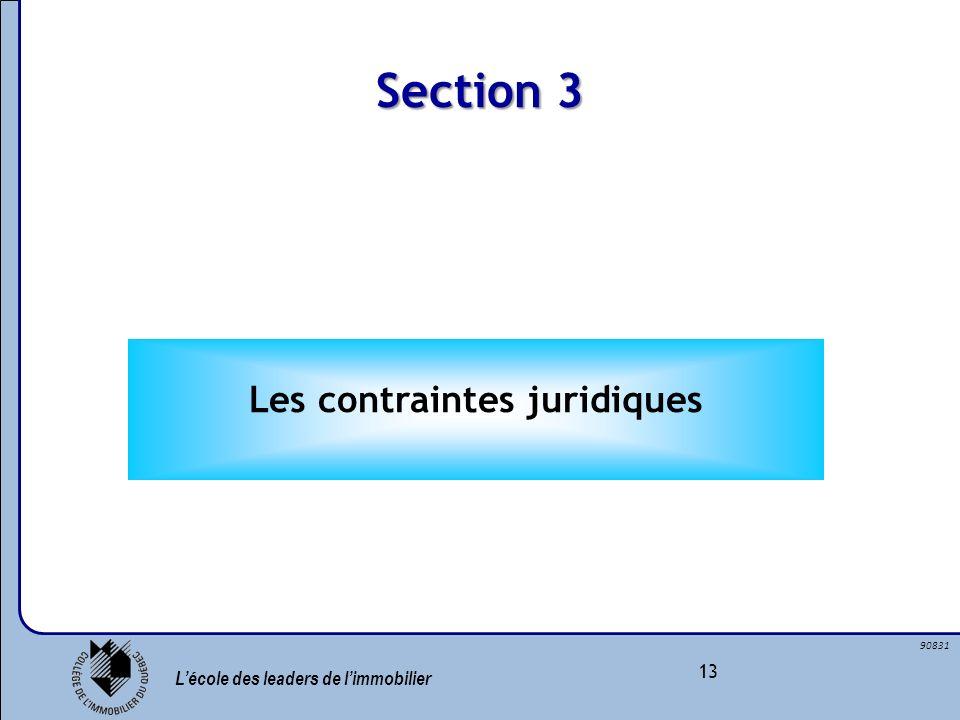 Lécole des leaders de limmobilier 13 90831 Section 3 Les contraintes juridiques
