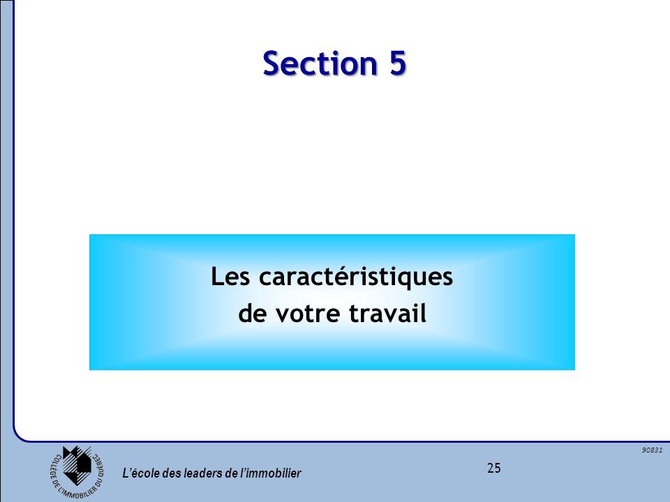 Lécole des leaders de limmobilier 25 90831 Section 5 Les caractéristiques de votre travail