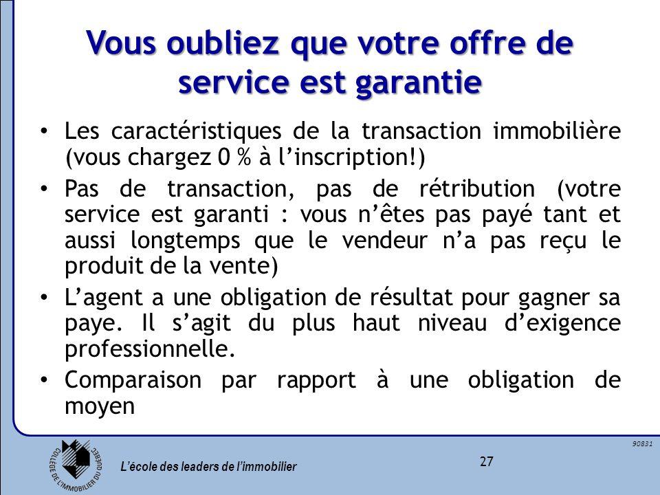 Lécole des leaders de limmobilier 27 90831 Vous oubliez que votre offre de service est garantie Les caractéristiques de la transaction immobilière (vo