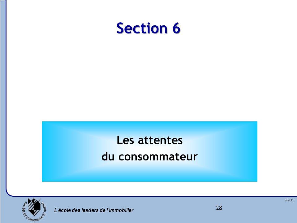 Lécole des leaders de limmobilier 28 90831 Section 6 Les attentes du consommateur
