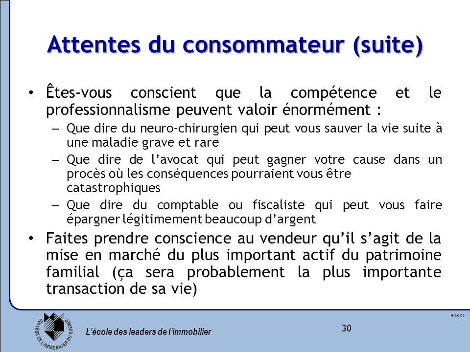Lécole des leaders de limmobilier 30 90831 Attentes du consommateur (suite) Êtes-vous conscient que la compétence et le professionnalisme peuvent valo