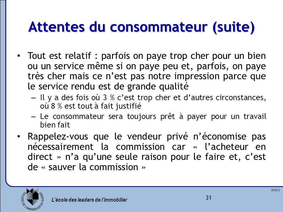 Lécole des leaders de limmobilier 31 90831 Attentes du consommateur (suite) Tout est relatif : parfois on paye trop cher pour un bien ou un service mê