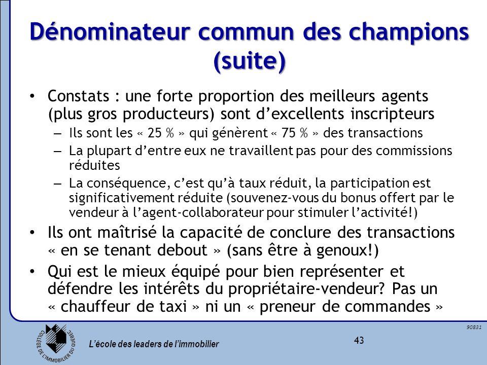 Lécole des leaders de limmobilier 43 90831 Dénominateur commun des champions (suite) Constats : une forte proportion des meilleurs agents (plus gros p