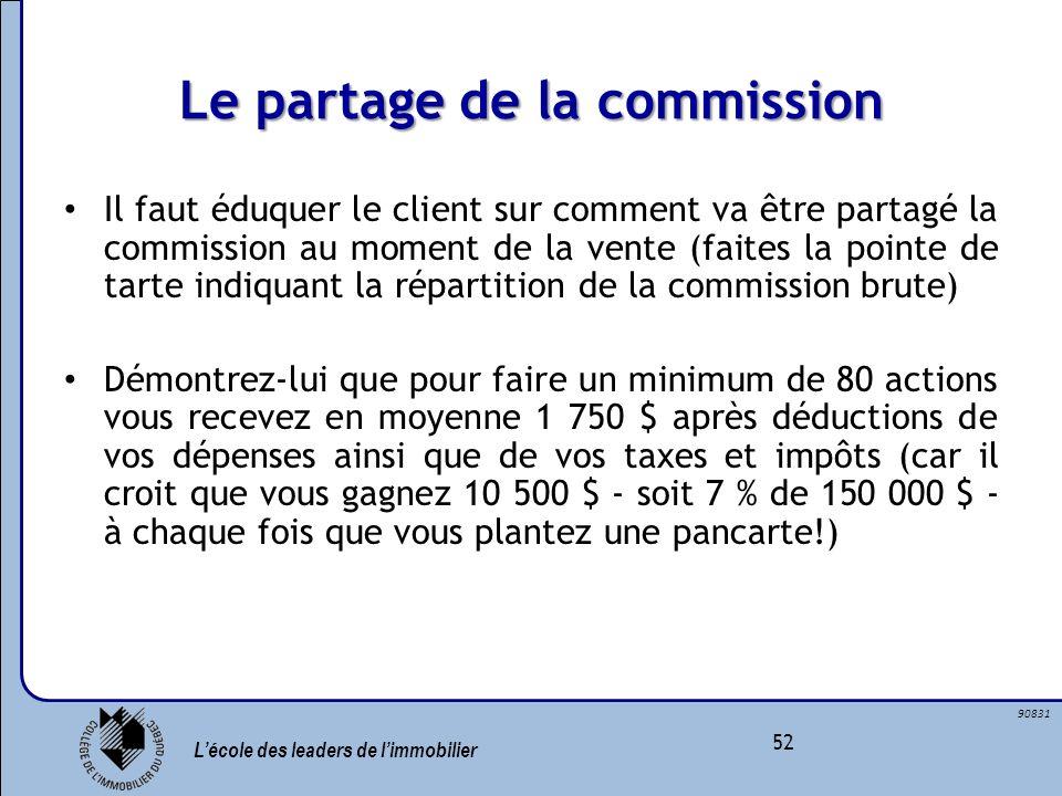 Lécole des leaders de limmobilier 52 90831 Le partage de la commission Il faut éduquer le client sur comment va être partagé la commission au moment d