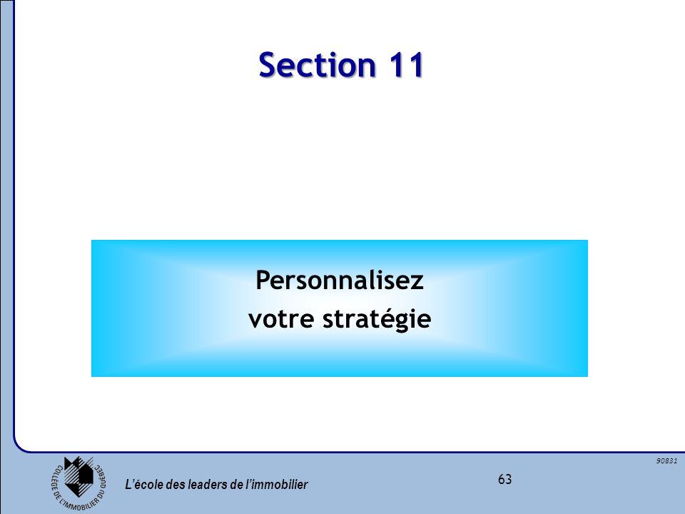 Lécole des leaders de limmobilier 63 90831 Section 11 Personnalisez votre stratégie