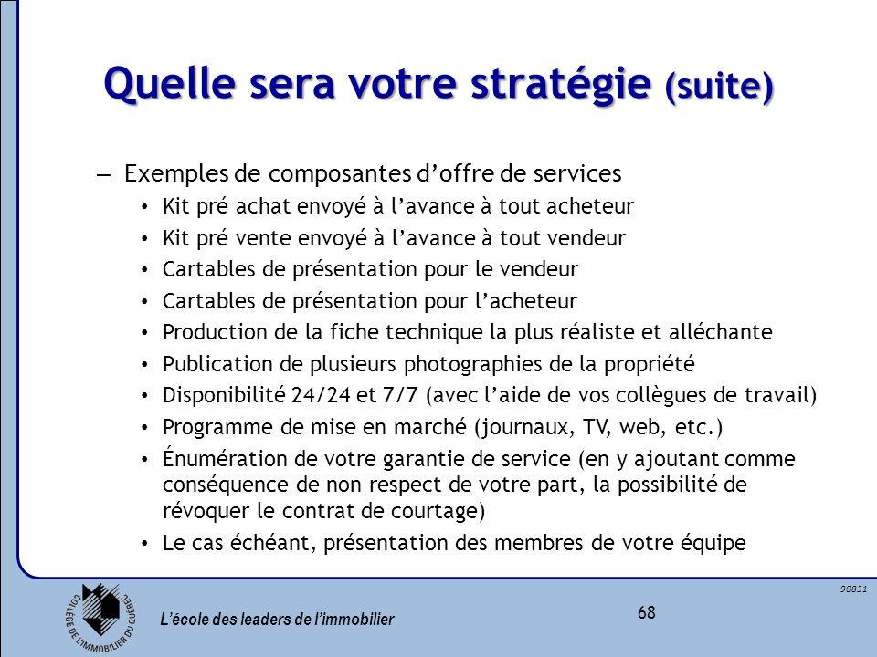 Lécole des leaders de limmobilier 68 90831 Quelle sera votre stratégie (suite) – Exemples de composantes doffre de services Kit pré achat envoyé à lav