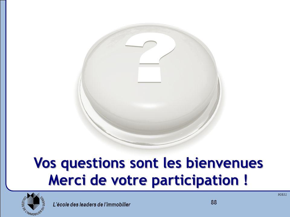 Lécole des leaders de limmobilier 88 90831 Vos questions sont les bienvenues Merci de votre participation !