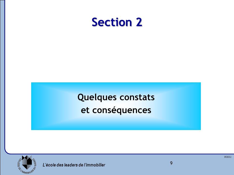 Lécole des leaders de limmobilier 9 90831 Quelques constats et conséquences Section 2
