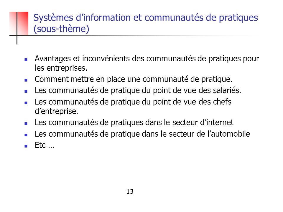 Systèmes dinformation et communautés de pratiques (sous-thème) Avantages et inconvénients des communautés de pratiques pour les entreprises. Comment m