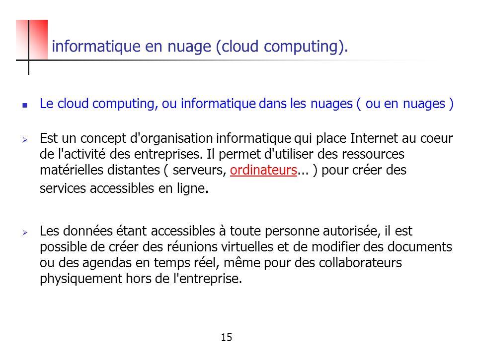informatique en nuage (cloud computing). Le cloud computing, ou informatique dans les nuages ( ou en nuages ) Est un concept d'organisation informatiq
