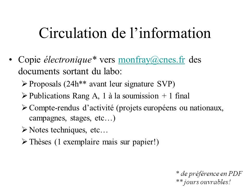 Circulation de linformation (2) Réunion régulière déquipe nécessaire: Circulation info.