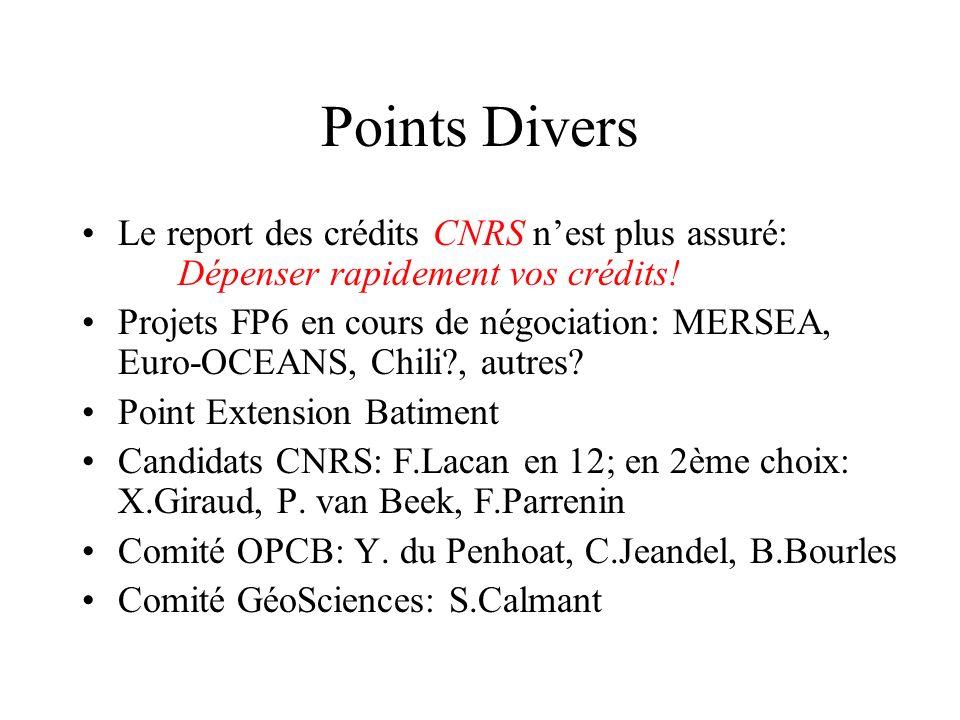 Points Divers Le report des crédits CNRS nest plus assuré: Dépenser rapidement vos crédits.
