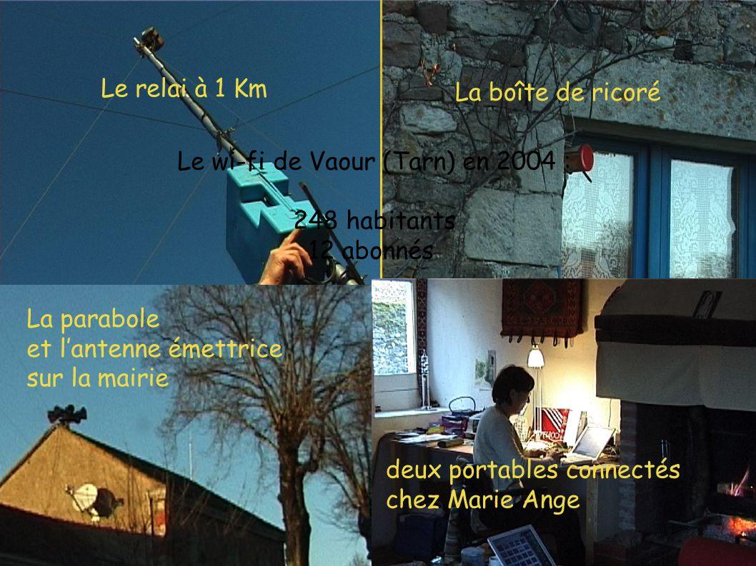 Le relai à 1 Km La parabole et lantenne émettrice sur la mairie La boîte de ricoré Le wi-fi de Vaour (Tarn) en 2004 : 248 habitants 12 abonnés deux portables connectés chez Marie Ange