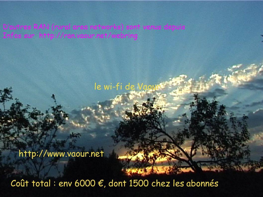 Coût total : env 6000, dont 1500 chez les abonnés le wi-fi de Vaour http://www.vaour.net Dautres RAN (rural area networks) sont venus depuis Infos sur http://ran.vaour.net/webring