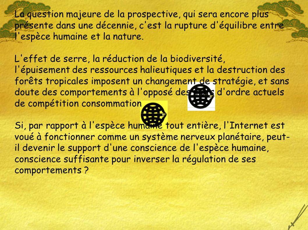 La question majeure de la prospective, qui sera encore plus présente dans une décennie, c est la rupture d équilibre entre l espèce humaine et la nature.