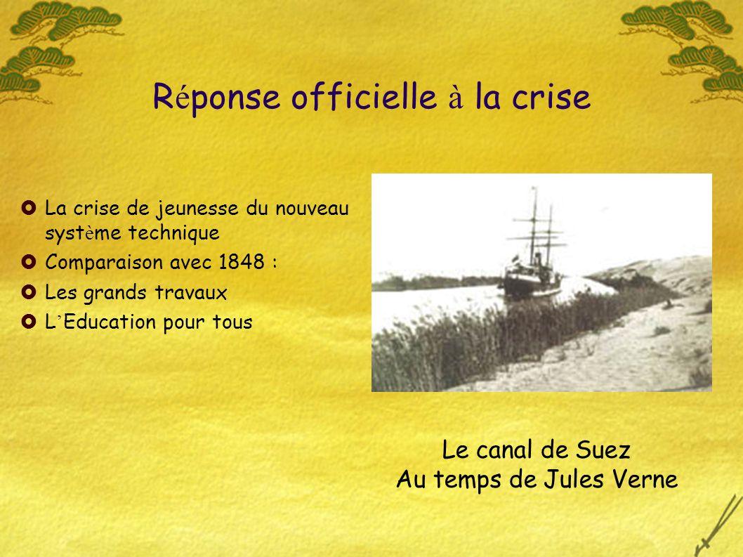 R é ponse officielle à la crise La crise de jeunesse du nouveau syst è me technique Comparaison avec 1848 : Les grands travaux L Education pour tous Le canal de Suez Au temps de Jules Verne