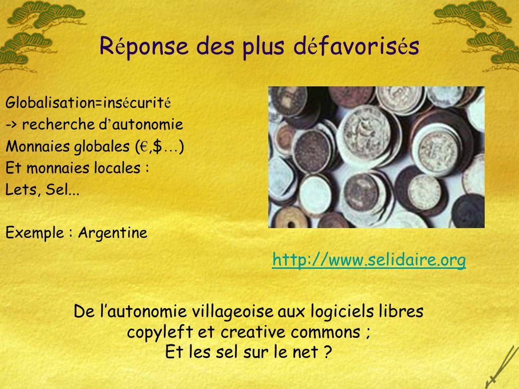 Globalisation=ins é curit é -> recherche d autonomie Monnaies globales (,$ … ) Et monnaies locales : Lets, Sel...