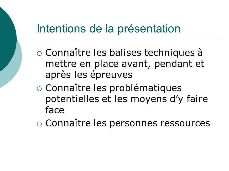 Intentions de la présentation Connaître les balises techniques à mettre en place avant, pendant et après les épreuves Connaître les problématiques pot