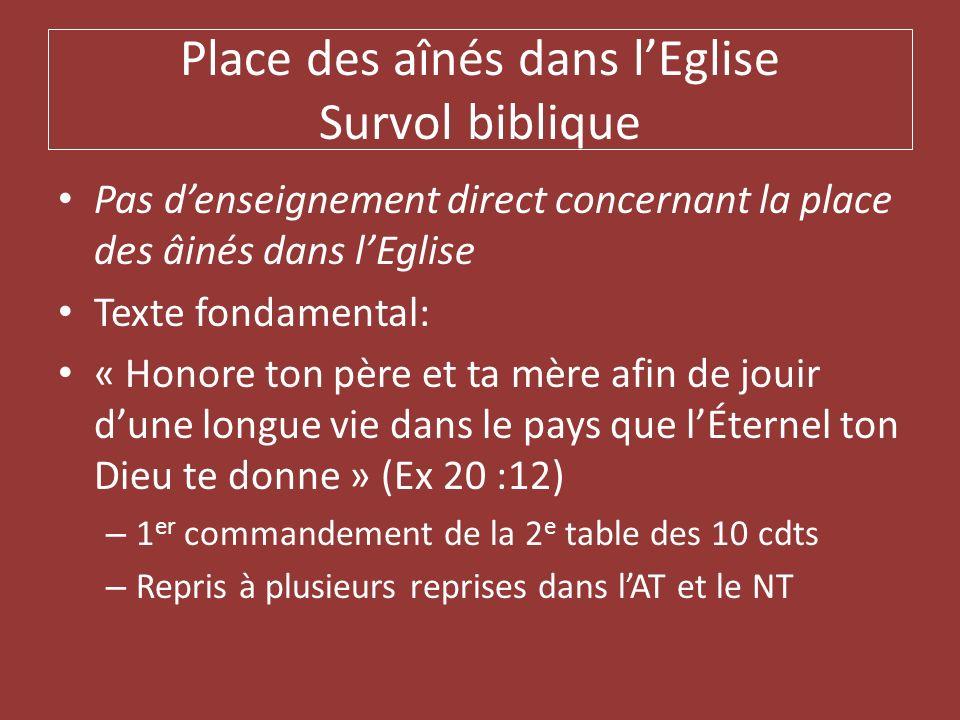 Place des aînés dans lEglise Survol biblique Pas denseignement direct concernant la place des âinés dans lEglise Texte fondamental: « Honore ton père