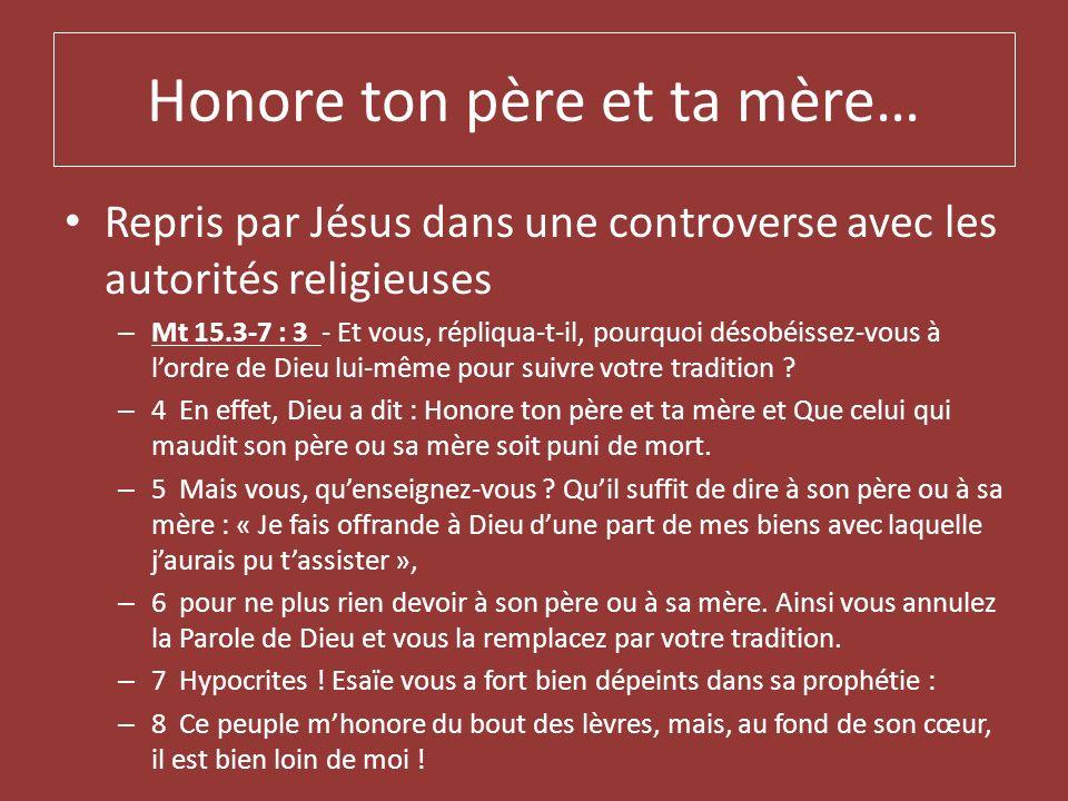 Honore ton père et ta mère… Repris par Jésus dans une controverse avec les autorités religieuses – Mt 15.3-7 : 3 - Et vous, répliqua-t-il, pourquoi dé