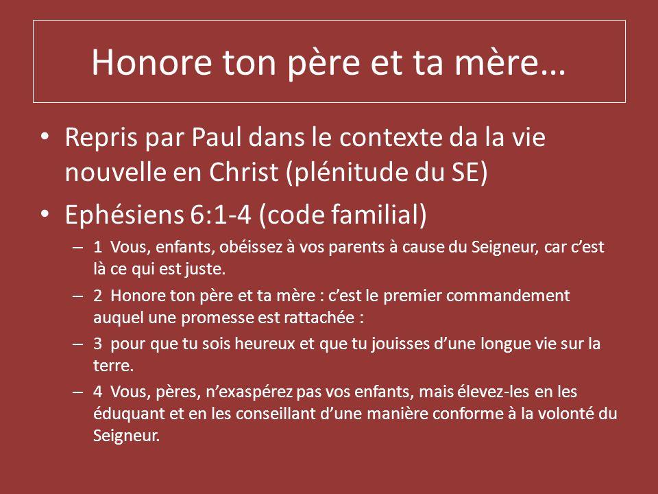Honore ton père et ta mère… Repris par Paul dans le contexte da la vie nouvelle en Christ (plénitude du SE) Ephésiens 6:1-4 (code familial) – 1 Vous,