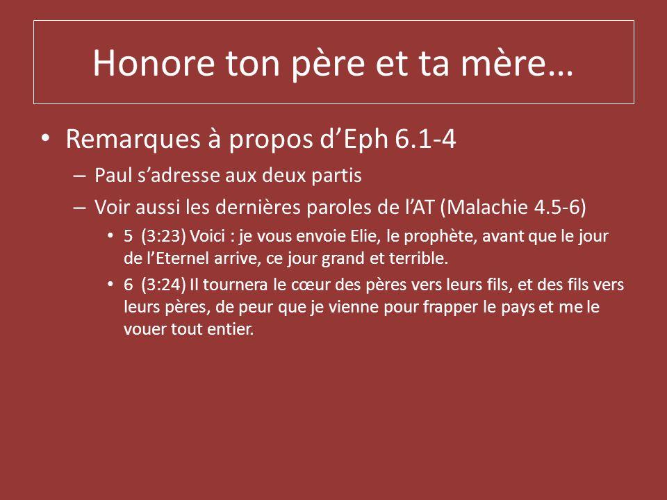 Honore ton père et ta mère… Remarques à propos dEph 6.1-4 – Paul sadresse aux deux partis – Voir aussi les dernières paroles de lAT (Malachie 4.5-6) 5