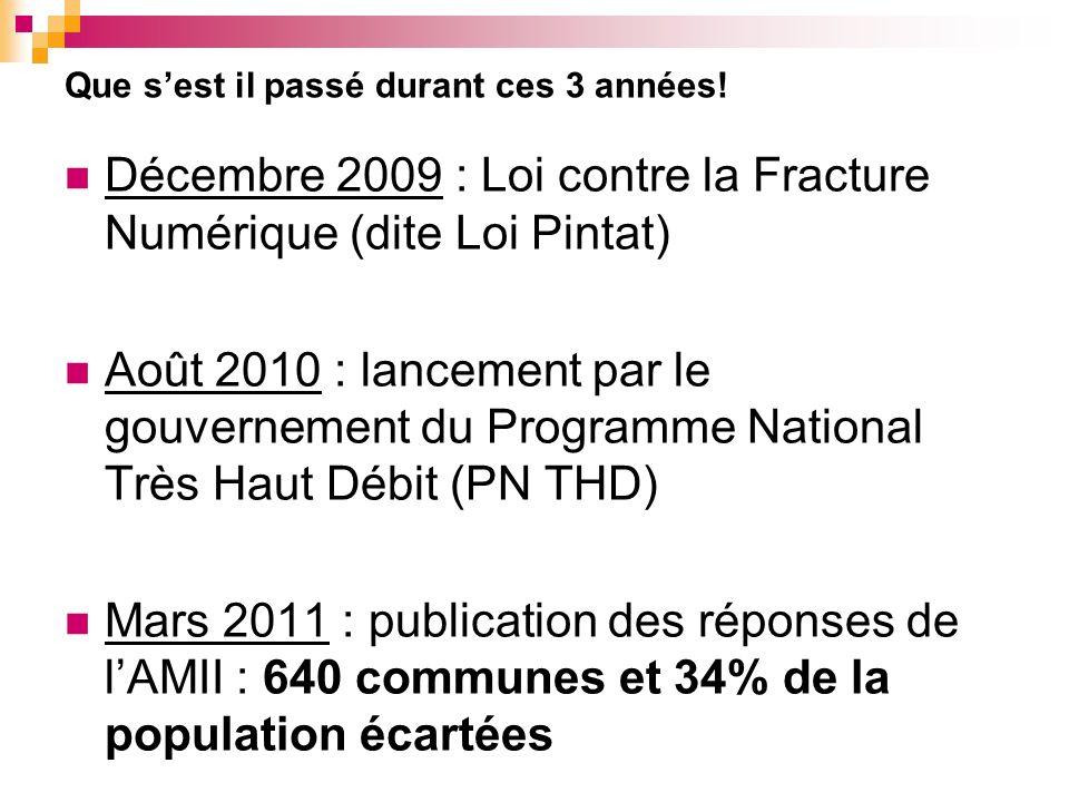 Que sest il passé durant ces 3 années! Décembre 2009 : Loi contre la Fracture Numérique (dite Loi Pintat) Août 2010 : lancement par le gouvernement du