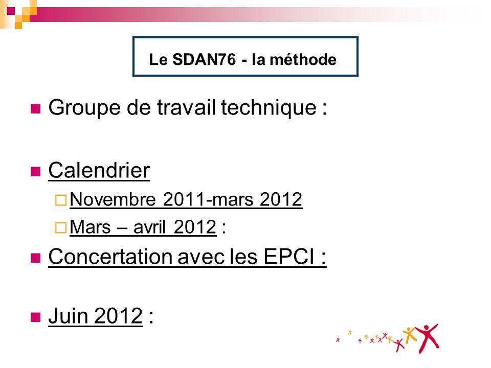 Le SDAN76 - la méthode Groupe de travail technique : Calendrier Novembre 2011-mars 2012 Mars – avril 2012 : Concertation avec les EPCI : Juin 2012 :