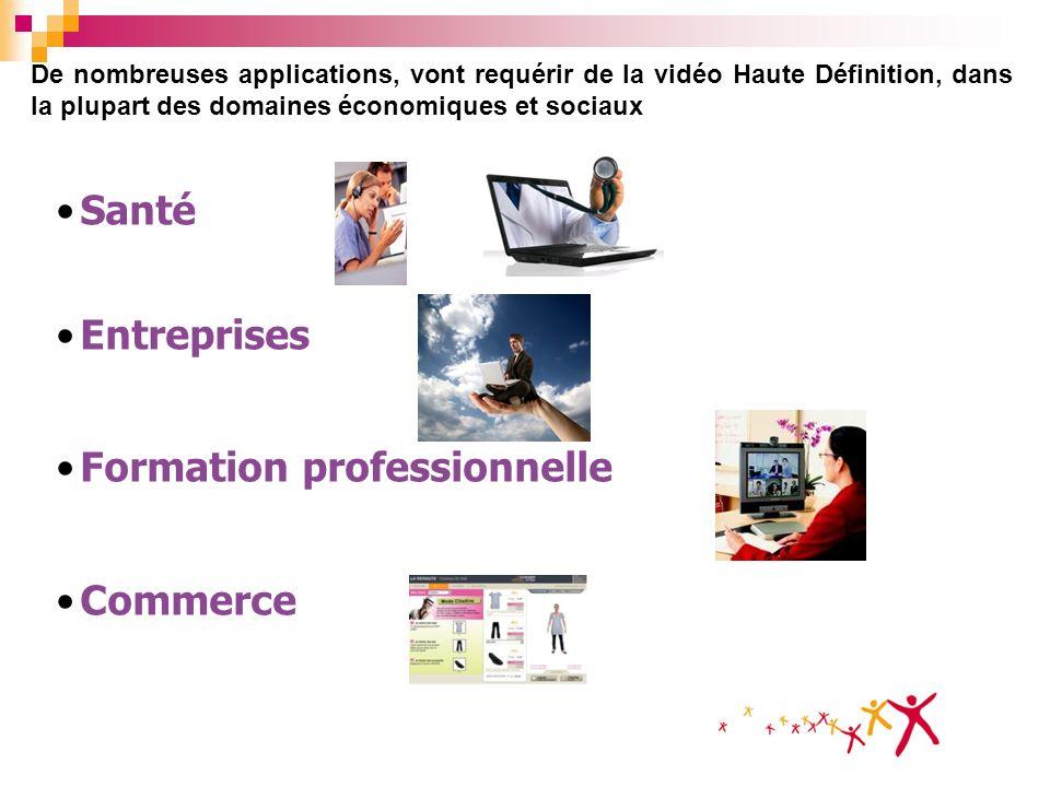 De nombreuses applications, vont requérir de la vidéo Haute Définition, dans la plupart des domaines économiques et sociaux Santé Entreprises Formatio