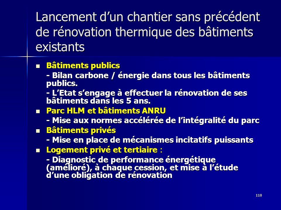 110 Lancement dun chantier sans précédent de rénovation thermique des bâtiments existants Bâtiments publics Bâtiments publics - Bilan carbone / énergi