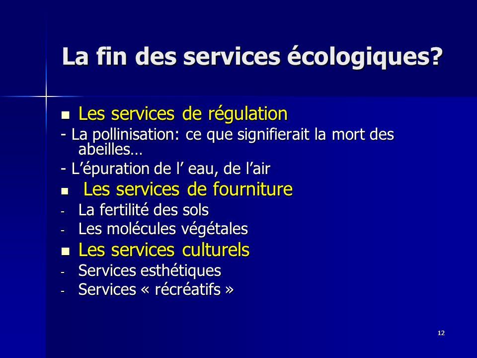12 La fin des services écologiques.