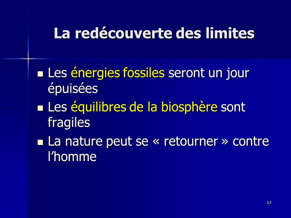 17 La redécouverte des limites Les énergies fossiles seront un jour épuisées Les énergies fossiles seront un jour épuisées Les équilibres de la biosphère sont fragiles Les équilibres de la biosphère sont fragiles La nature peut se « retourner » contre lhomme La nature peut se « retourner » contre lhomme