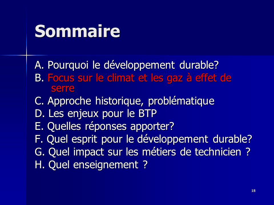 18 Sommaire A. Pourquoi le développement durable? B. Focus sur le climat et les gaz à effet de serre C. Approche historique, problématique D. Les enje
