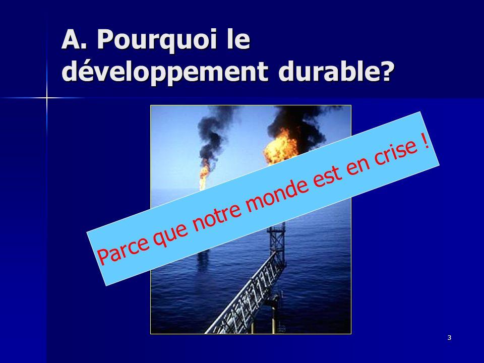 3 A. Pourquoi le développement durable? Parce que notre monde est en crise !