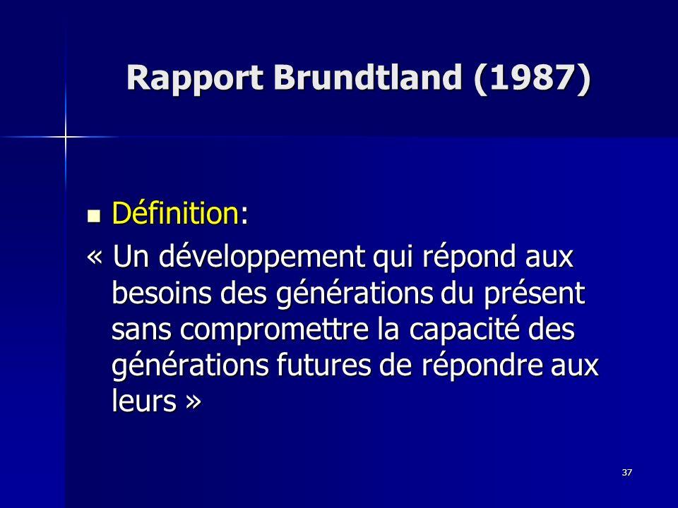 37 Définition: Définition: « Un développement qui répond aux besoins des générations du présent sans compromettre la capacité des générations futures de répondre aux leurs » Rapport Brundtland (1987)