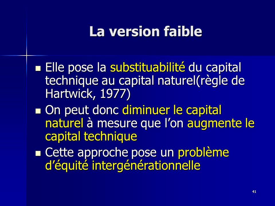 41 La version faible Elle pose la substituabilité du capital technique au capital naturel(règle de Hartwick, 1977) Elle pose la substituabilité du cap