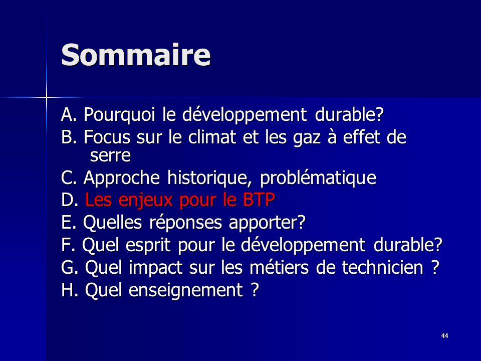 44 Sommaire A.Pourquoi le développement durable. B.