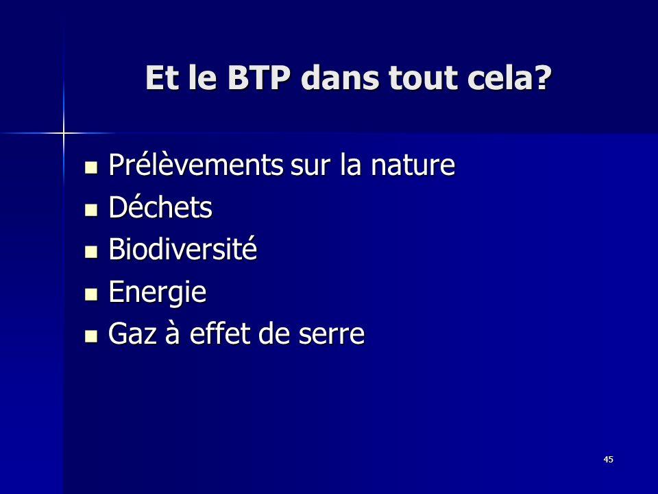 45 Et le BTP dans tout cela? Prélèvements sur la nature Prélèvements sur la nature Déchets Déchets Biodiversité Biodiversité Energie Energie Gaz à eff