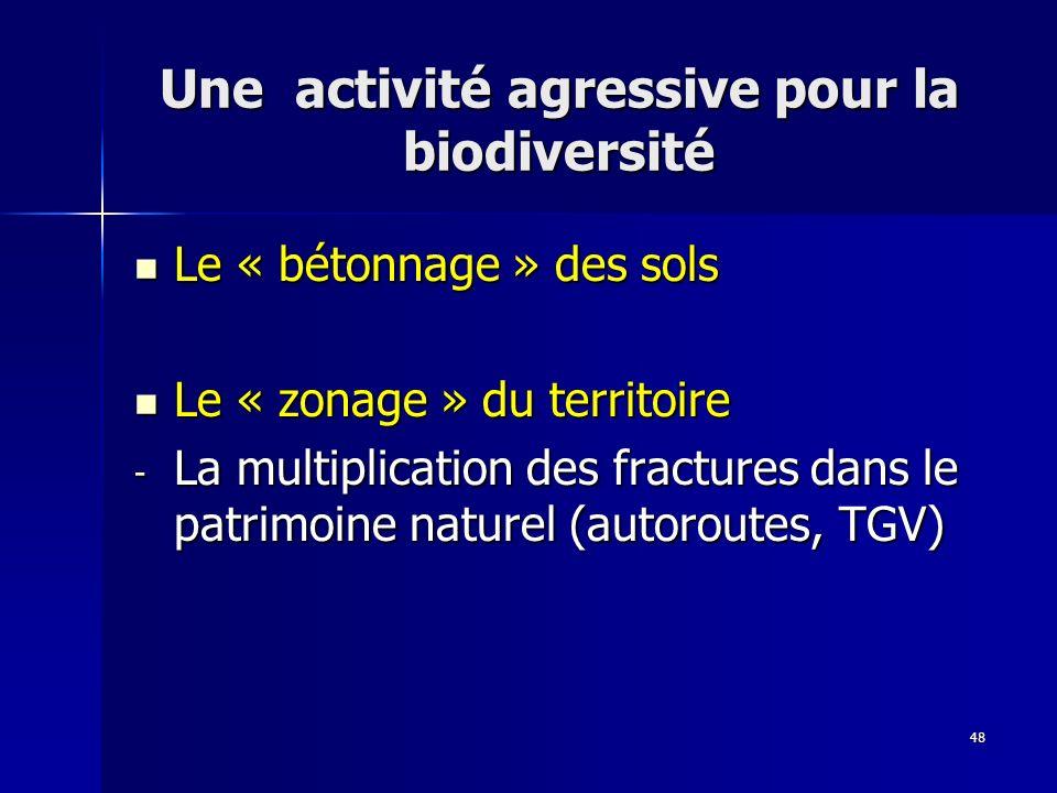 48 Une activité agressive pour la biodiversité Le « bétonnage » des sols Le « bétonnage » des sols Le « zonage » du territoire Le « zonage » du territ