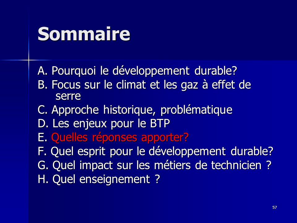 57 Sommaire A. Pourquoi le développement durable? B. Focus sur le climat et les gaz à effet de serre C. Approche historique, problématique D. Les enje