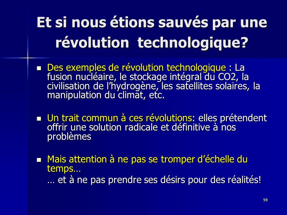 59 Et si nous étions sauvés par une révolution technologique? Des exemples de révolution technologique : La fusion nucléaire, le stockage intégral du