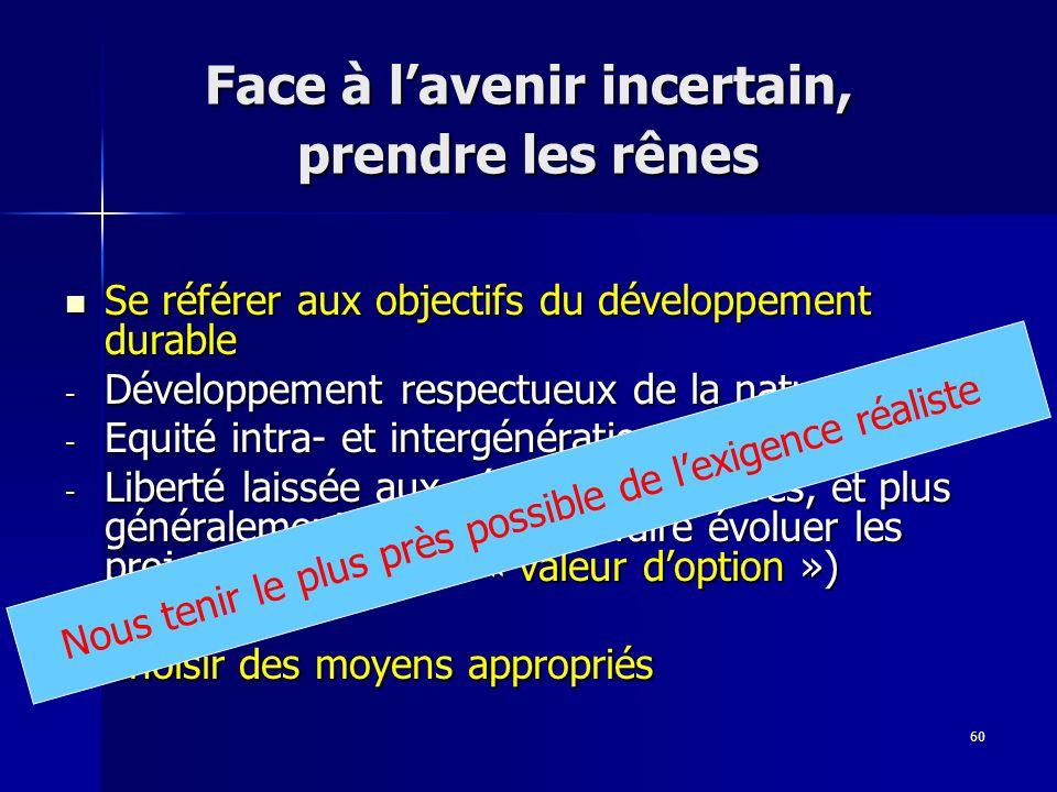 60 Face à lavenir incertain, prendre les rênes Se référer aux objectifs du développement durable Se référer aux objectifs du développement durable - D