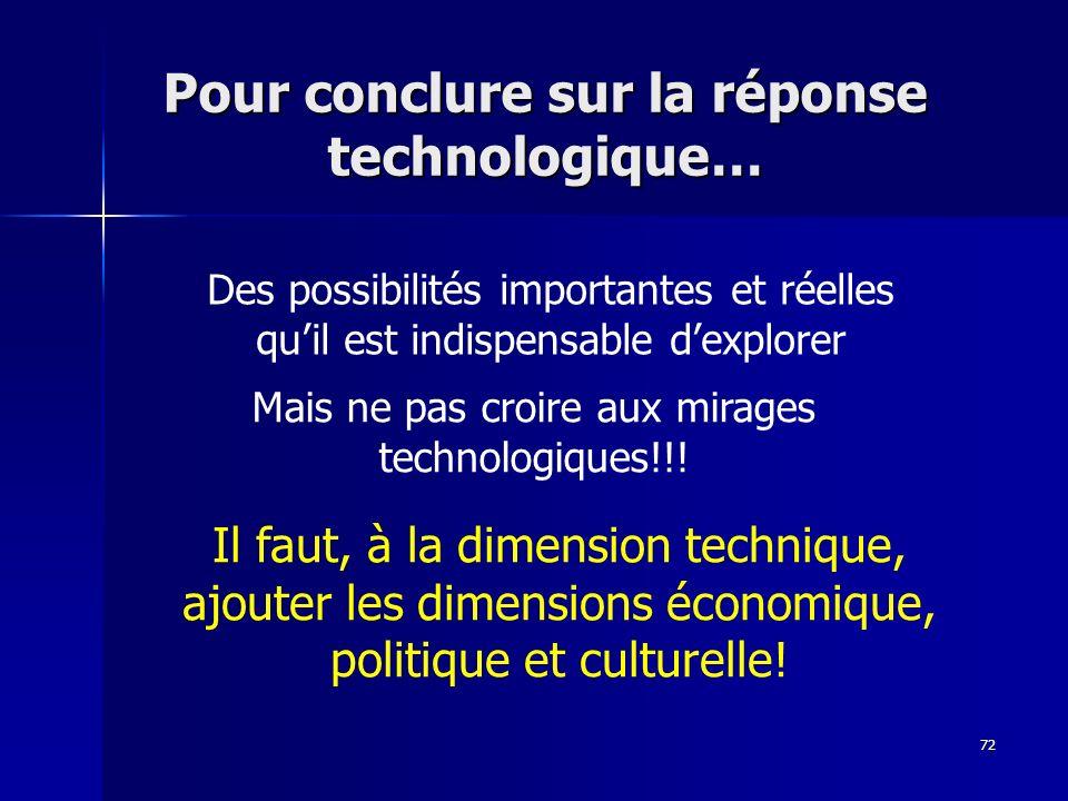 72 Pour conclure sur la réponse technologique… Des possibilités importantes et réelles quil est indispensable dexplorer Mais ne pas croire aux mirages technologiques!!.