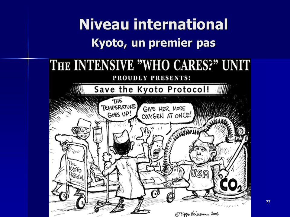 77 Niveau international Kyoto, un premier pas