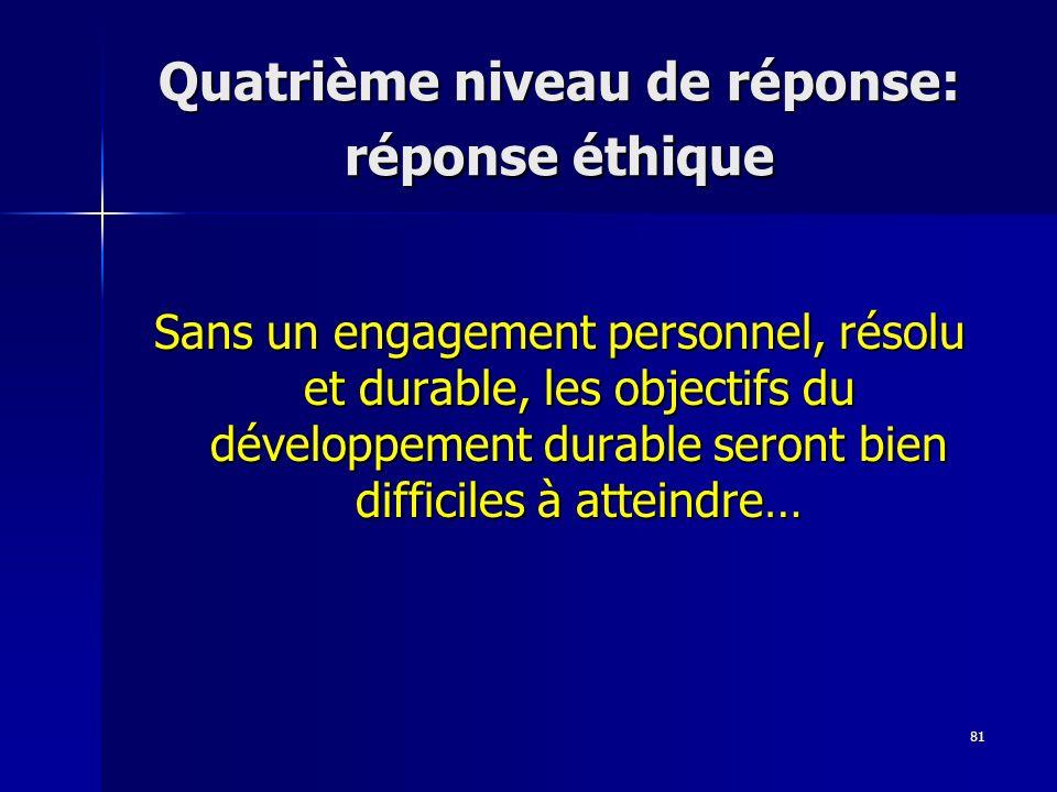 81 Quatrième niveau de réponse: réponse éthique Sans un engagement personnel, résolu et durable, les objectifs du développement durable seront bien difficiles à atteindre…