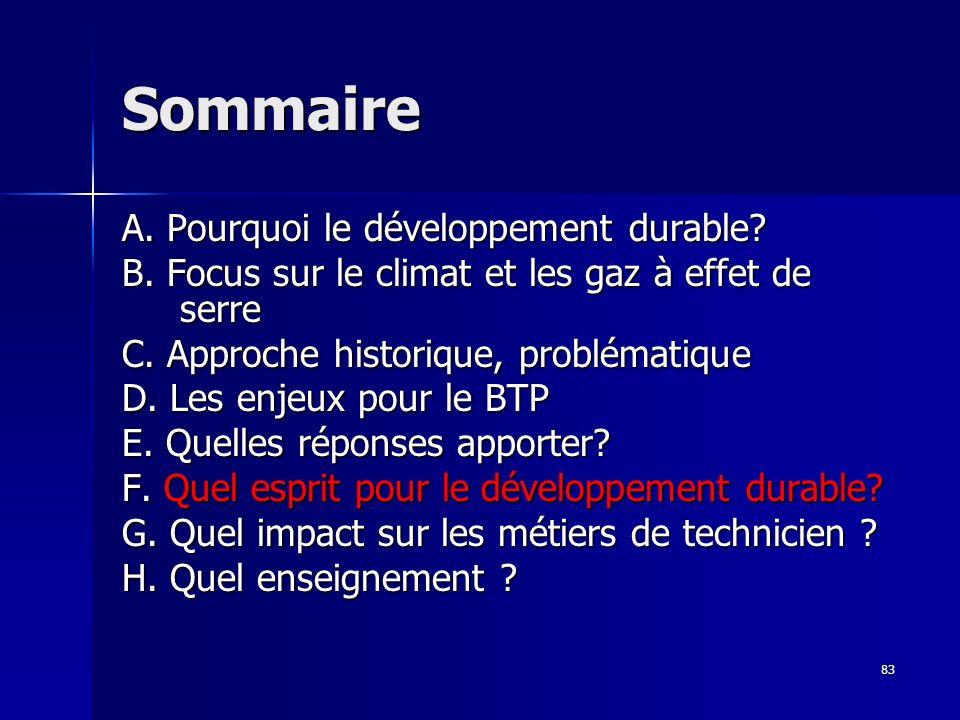 83 Sommaire A.Pourquoi le développement durable. B.