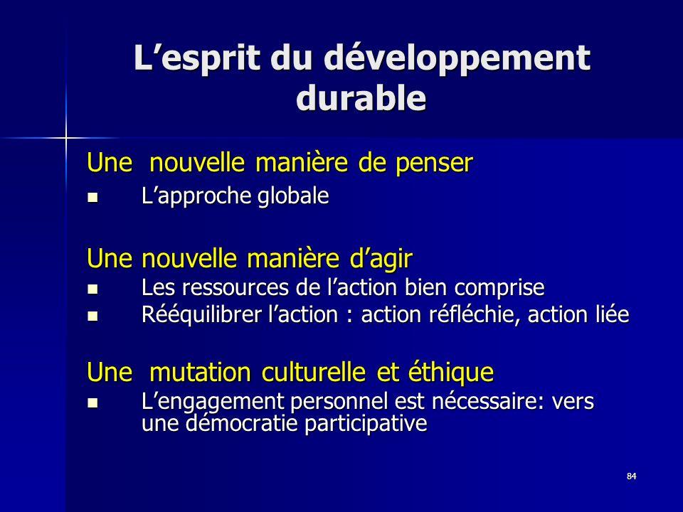 84 Lesprit du développement durable Une nouvelle manière de penser Lapproche globale Lapproche globale Une nouvelle manière dagir Une nouvelle manière