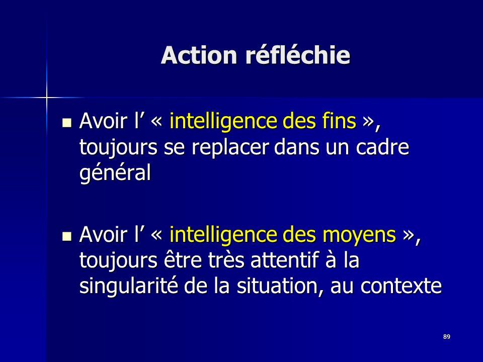 89 Action réfléchie Avoir l « intelligence des fins », toujours se replacer dans un cadre général Avoir l « intelligence des fins », toujours se repla