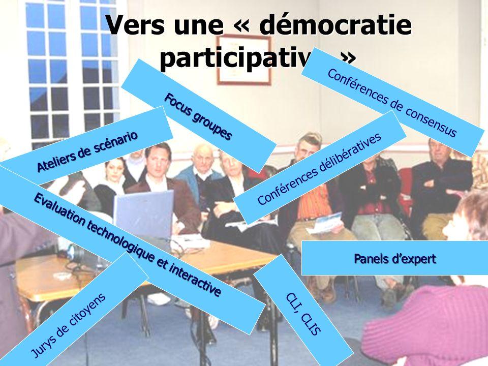 91 Vers une « démocratie participative » Panels dexpert Focus groupes Ateliers de scénario Evaluation technologique et interactive Jurys de citoyens CLI, CLIS Conférences de consensus Conférences délibératives
